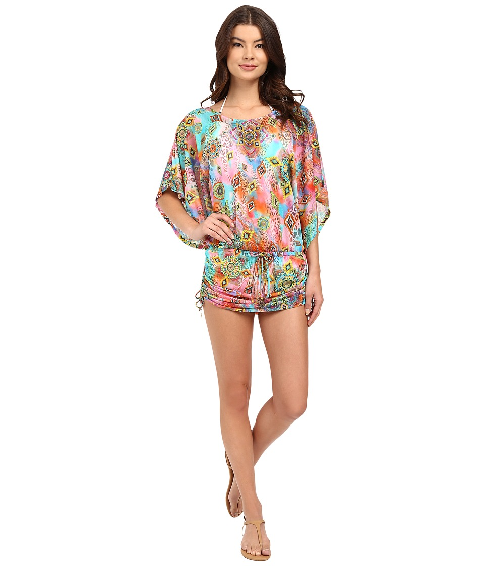 Luli Fama Boho Chic South Beach Dress Cover Up Multicolor Womens Swimwear