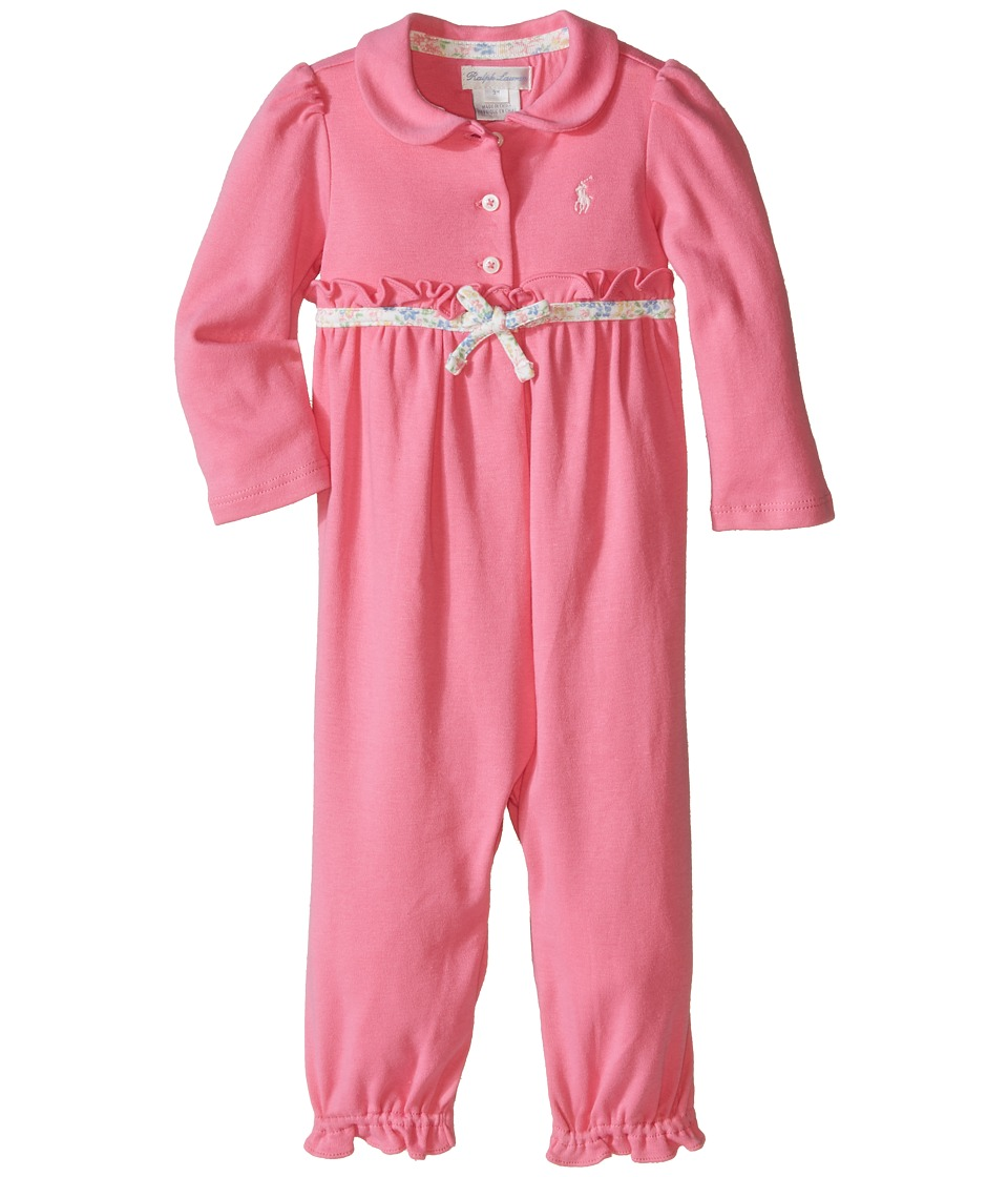 Ralph Lauren Baby - Interlock Classic One-Piece Coveralls (Infant) (Bermuda Pink) Girls Overalls One Piece