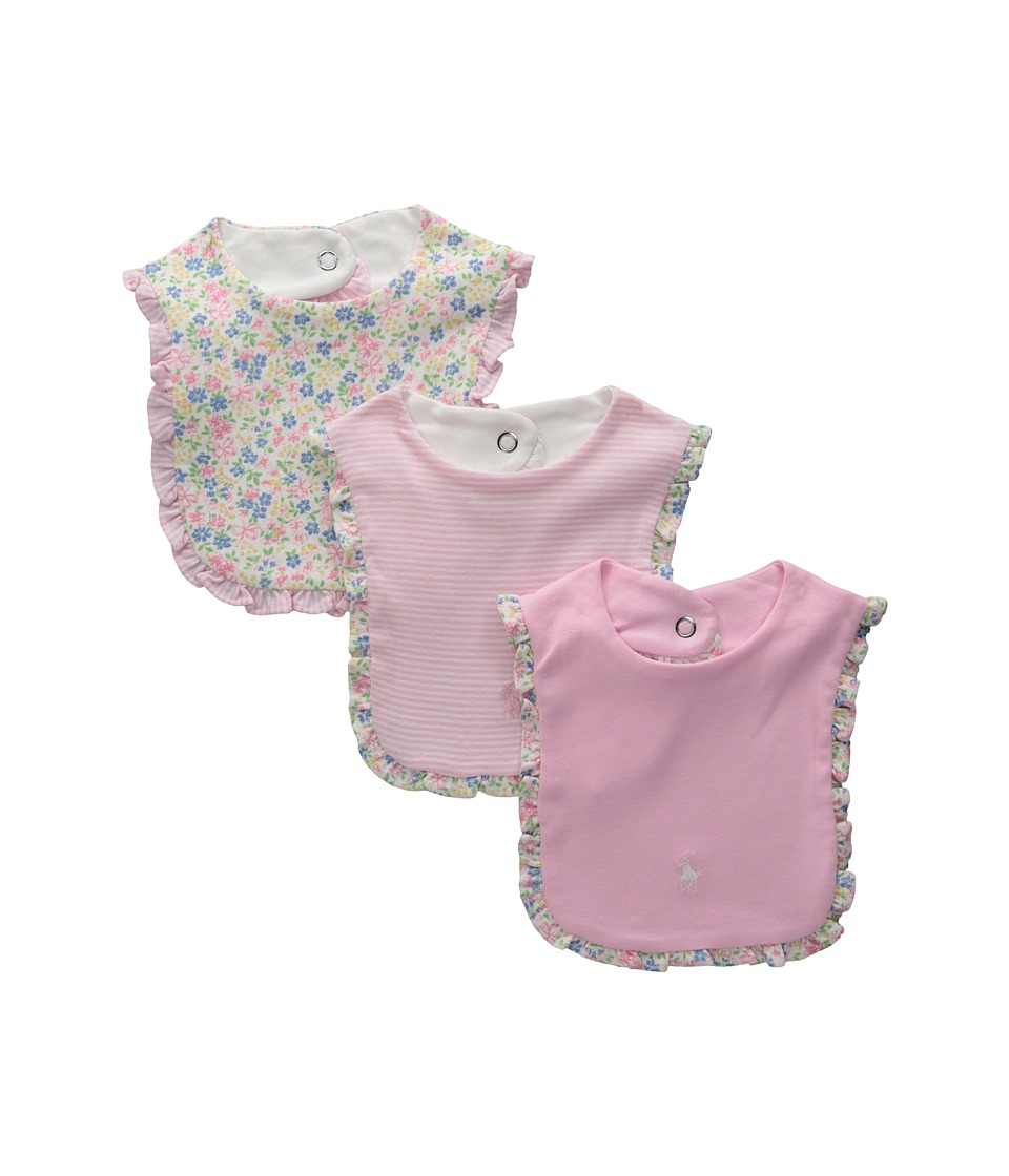 Ralph Lauren Baby - Printed 1x1 Rib Bib Set (Infant) (White Multi) Accessories Travel
