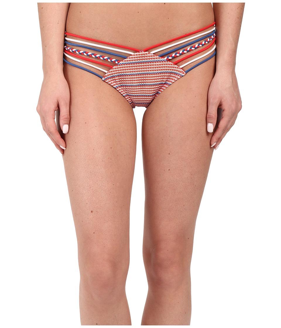 Luli Fama American Dream Strappy Brazilian Ruched Back Bottoms Multicolor Womens Swimwear