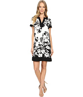 Adrianna Papell - Split-Neck Printed Shift Dress