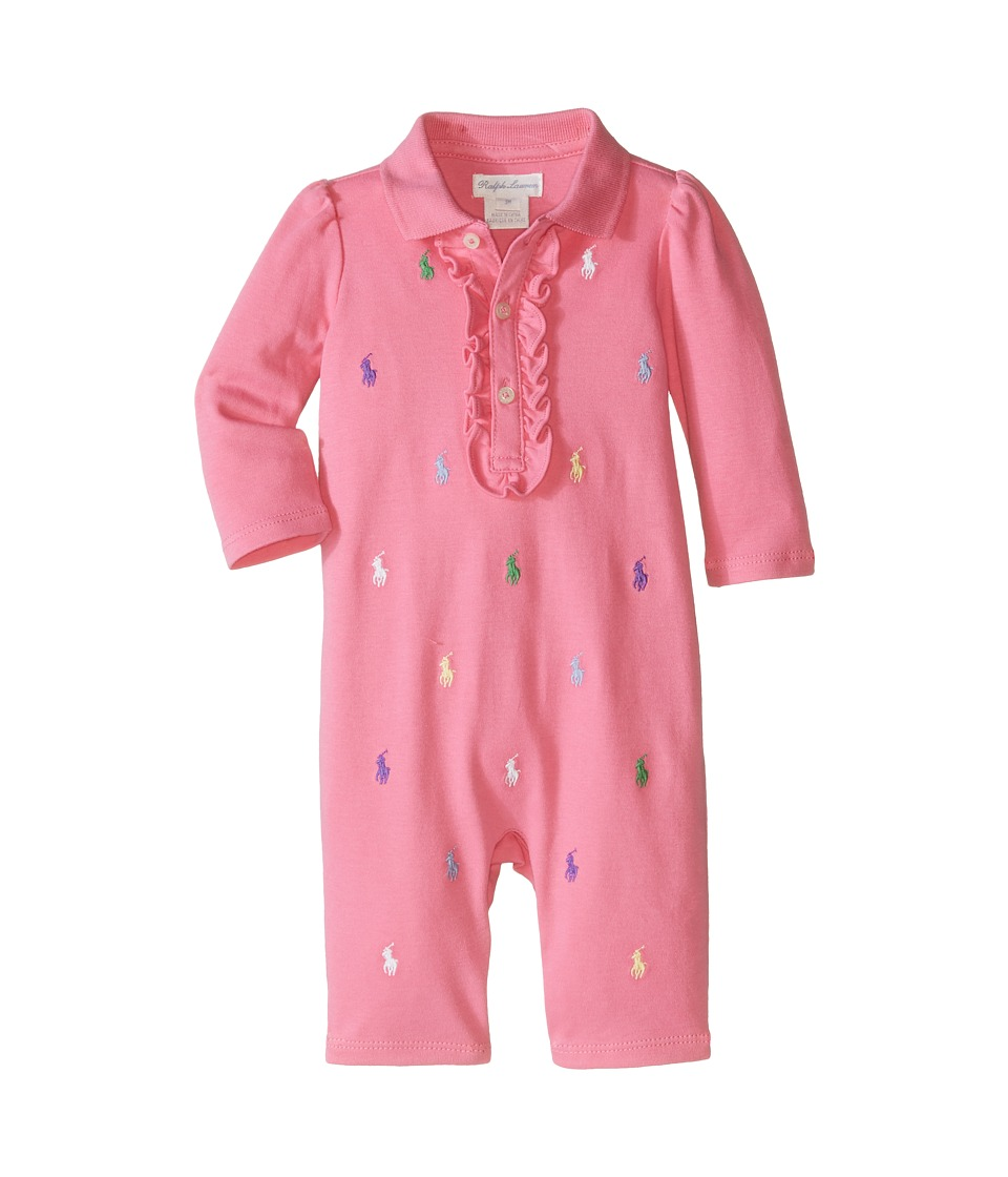 Ralph Lauren Baby - Interlock Schiffli One-Piece Coveralls (Infant) (Bermuda Pink) Girls Overalls One Piece