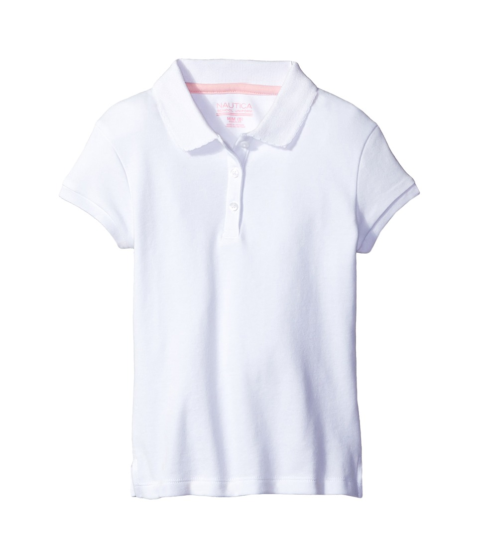 Nautica Kids - Short Sleeve Polo with Picot Stitch Collar (Little Kids) (White) Girls Short Sleeve Pullover
