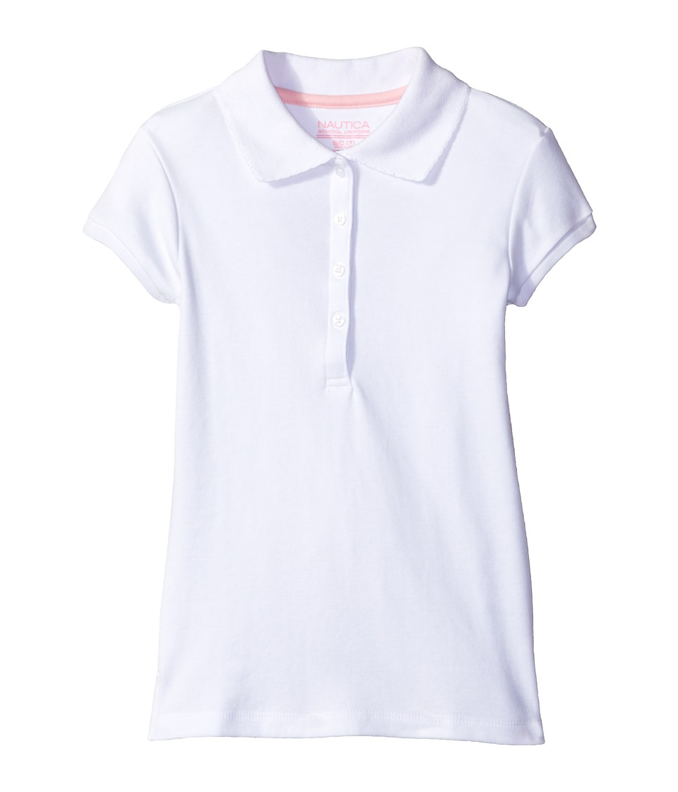 Nautica Kids - Short Sleeve Polo with Picot Stitch Collar (Big Kids) (White) Girls Short Sleeve Pullover