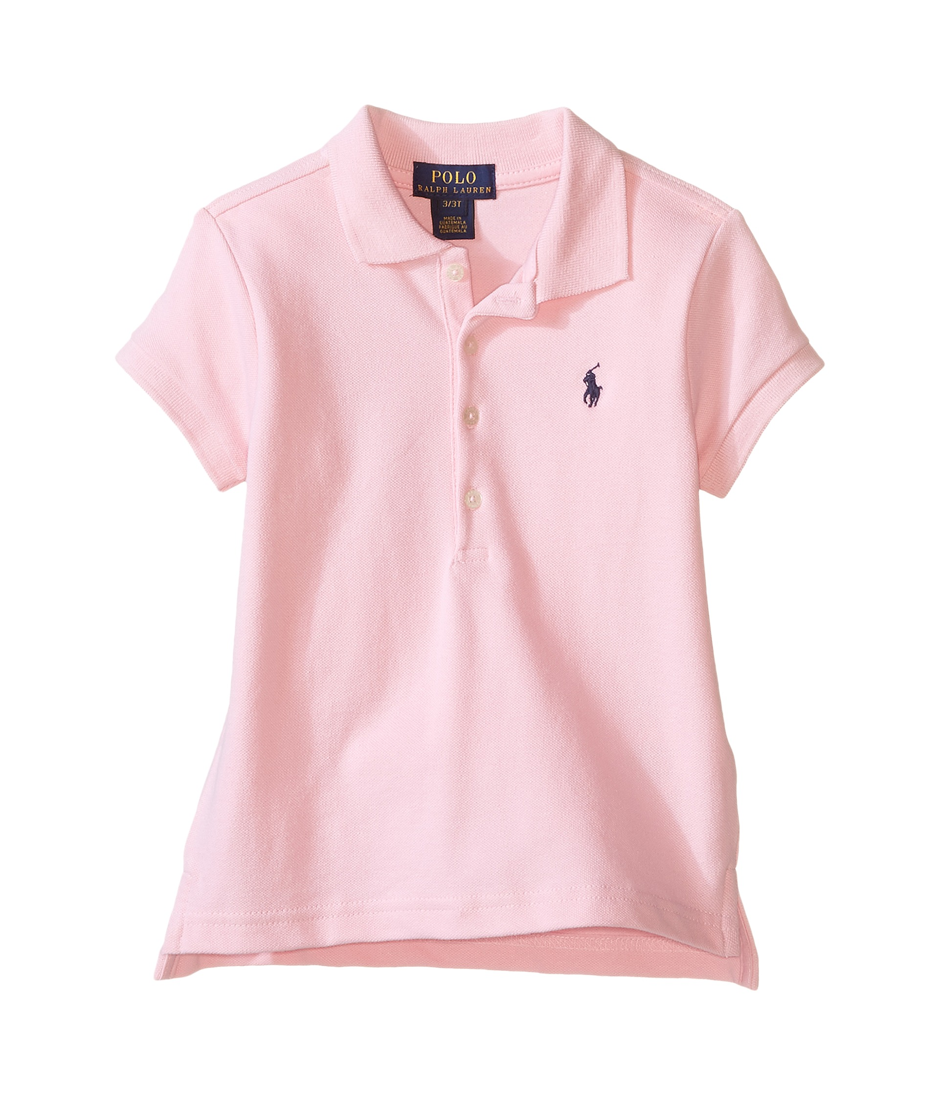Polo ralph lauren kids short sleeve mesh polo shirt for Baby pink polo shirt