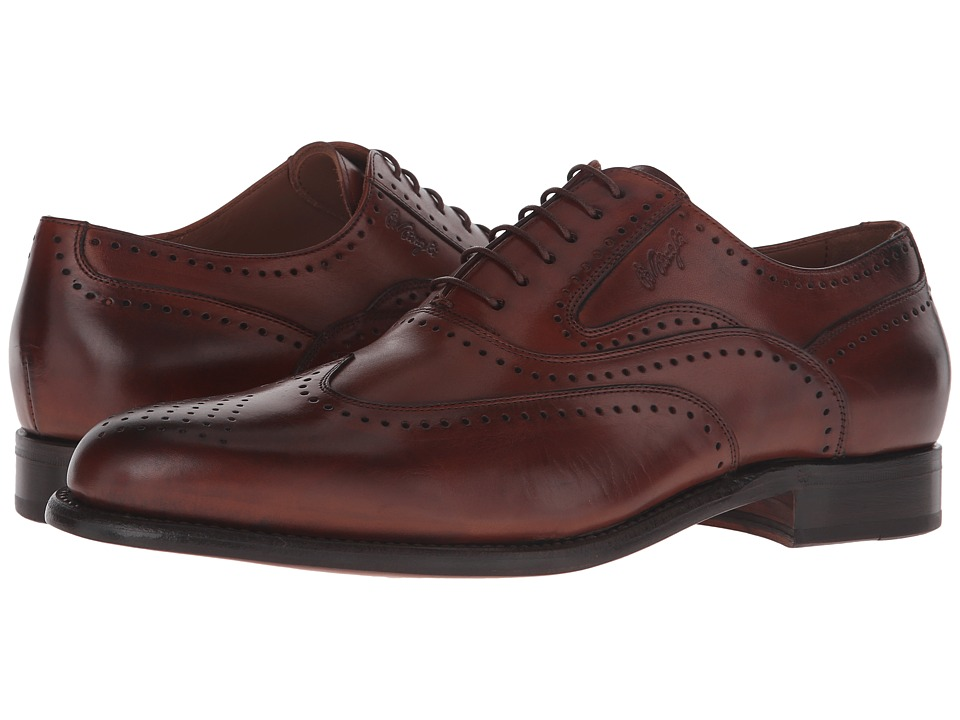 Bruno Magli Adamo Cognac Mens Lace Up Wing Tip Shoes