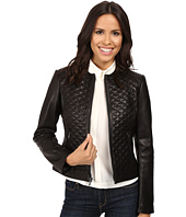 Cole Haan - Collarless Moto Diamond Quilted Leather Jacket