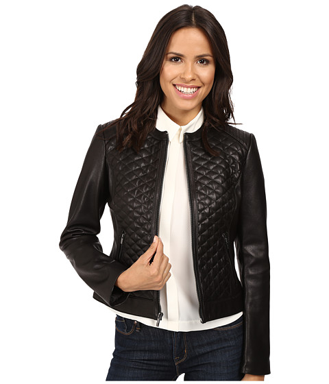 Cole Haan Collarless Moto Diamond Quilted Leather Jacket