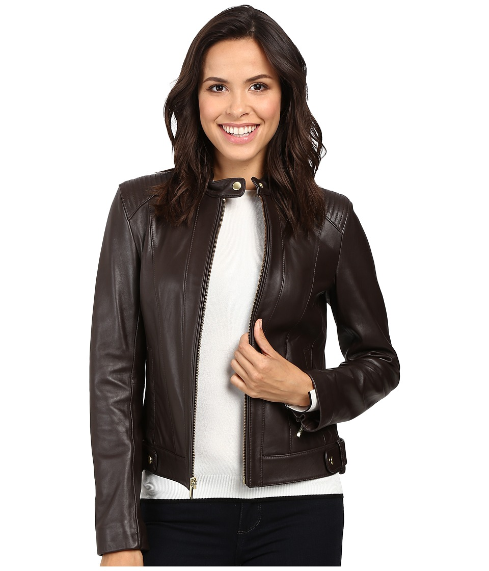 Cole Haan Leather Racer Jacket with Quilted Panels (Deep ...