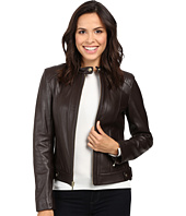 Cole Haan - Leather Racer Jacket with Quilted Panels