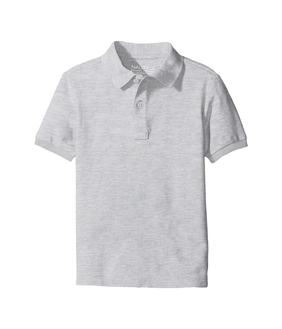 Nautica Kids - Short Sleeve Pique Polo (Big Kids) (Grey Heather) Boys Short Sleeve Pullover