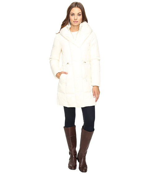 Cole Haan Bib Front Down Coat with Oversized Shawl Collar - Ivory
