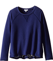 Splendid Littles - French Terry with Burnout Long Sleeve Jersey Mix Top (Big Kids)