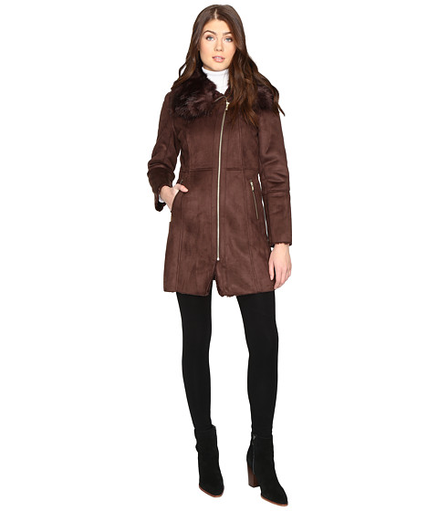 Cole Haan Signature Faux Shearling with Toscana Trim - Brown