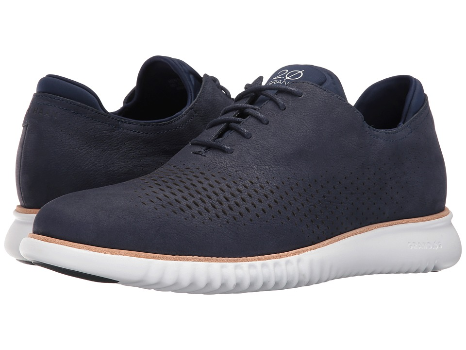 Cole Haan 2.0 Grand Laser Wing Oxford (Marine Blue Nubuck/Optic White) Men