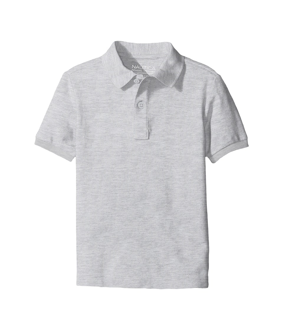 Nautica Kids - Husky Short Sleeve Pique Polo (Big Kids) (Grey Heather) Boys Short Sleeve Pullover