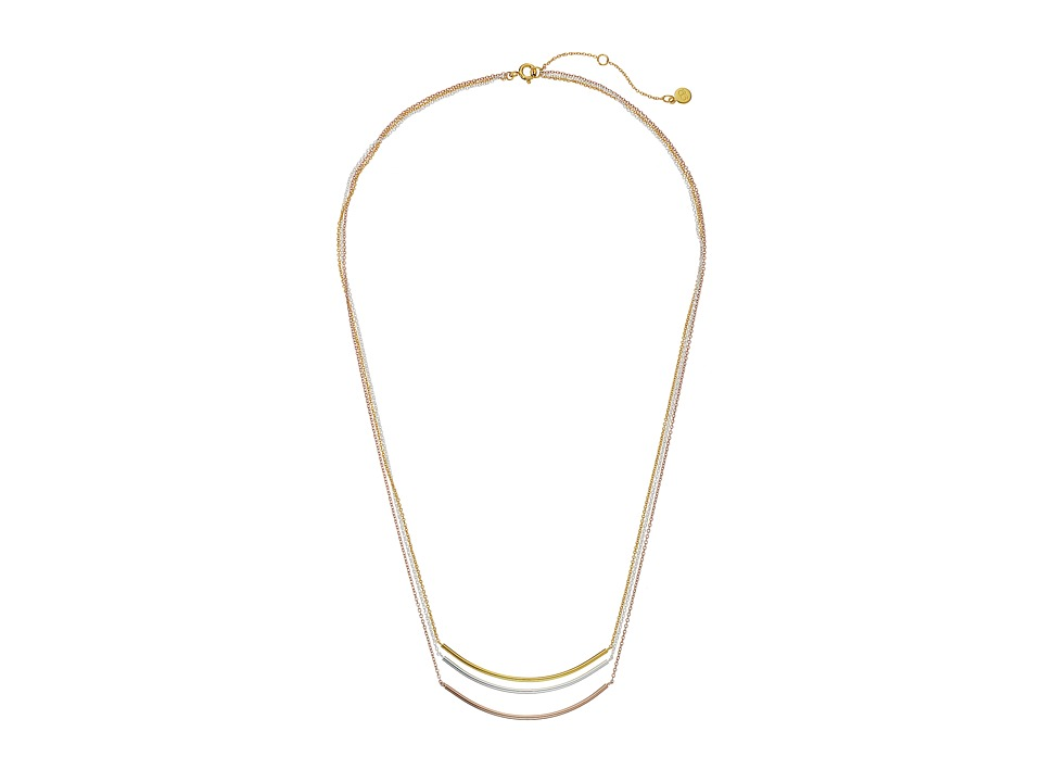 gorjana Carine Mixed Layer Necklace Tri Tone Necklace