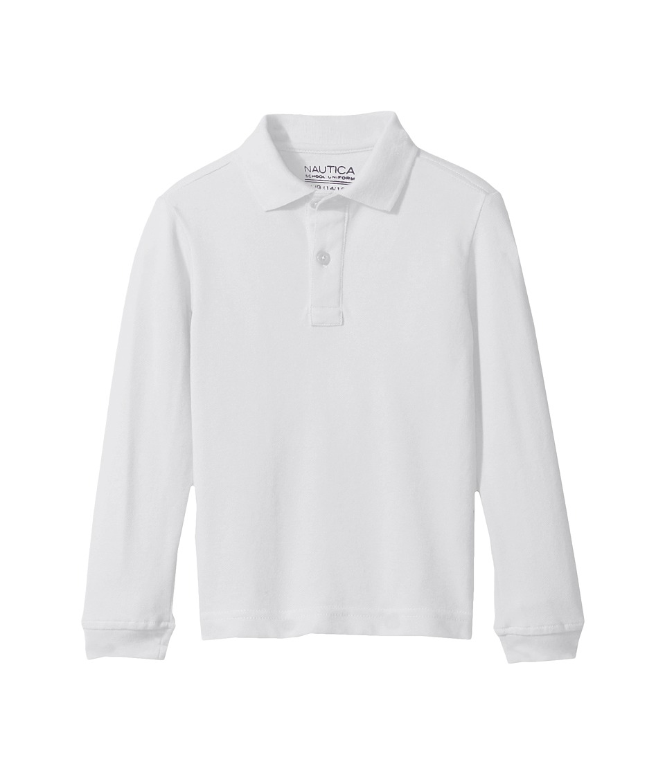 Nautica Kids - Long Sleeve Pique Polo (Little Kids) (White) Boys Long Sleeve Pullover