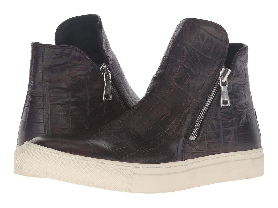 John Varvatos Reed Zip Sneaker (Dark Brown) Men