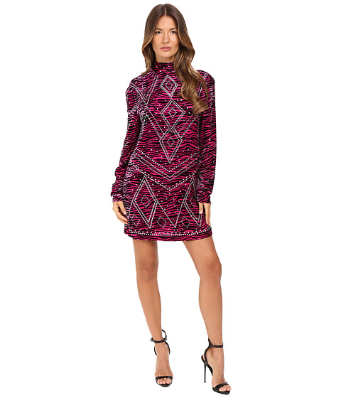 Just Cavalli Zebra Kiss Print Long Sleeve Dress