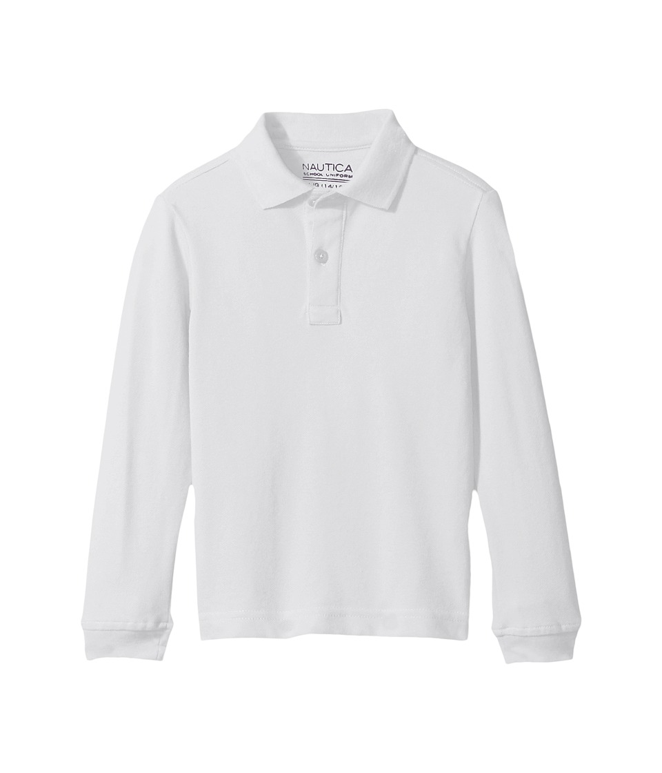 Nautica Kids - Long Sleeve Pique Polo (Big Kids) (White) Boys Long Sleeve Pullover