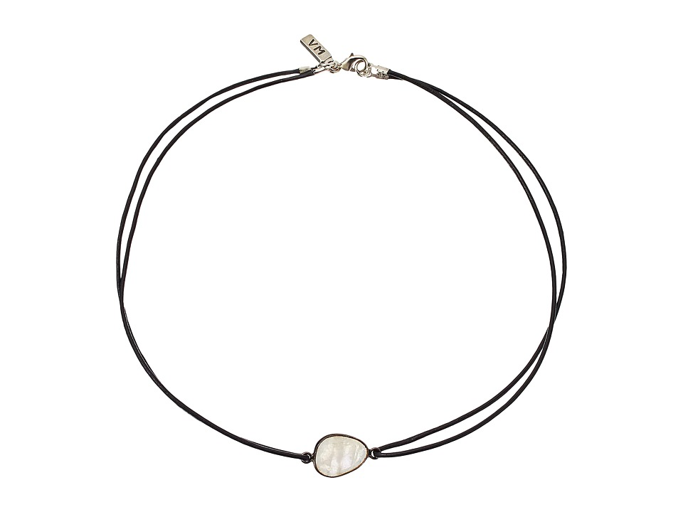 Vanessa Mooney The Maiden Moonstone Double Leather Choker Necklace Silver Necklace
