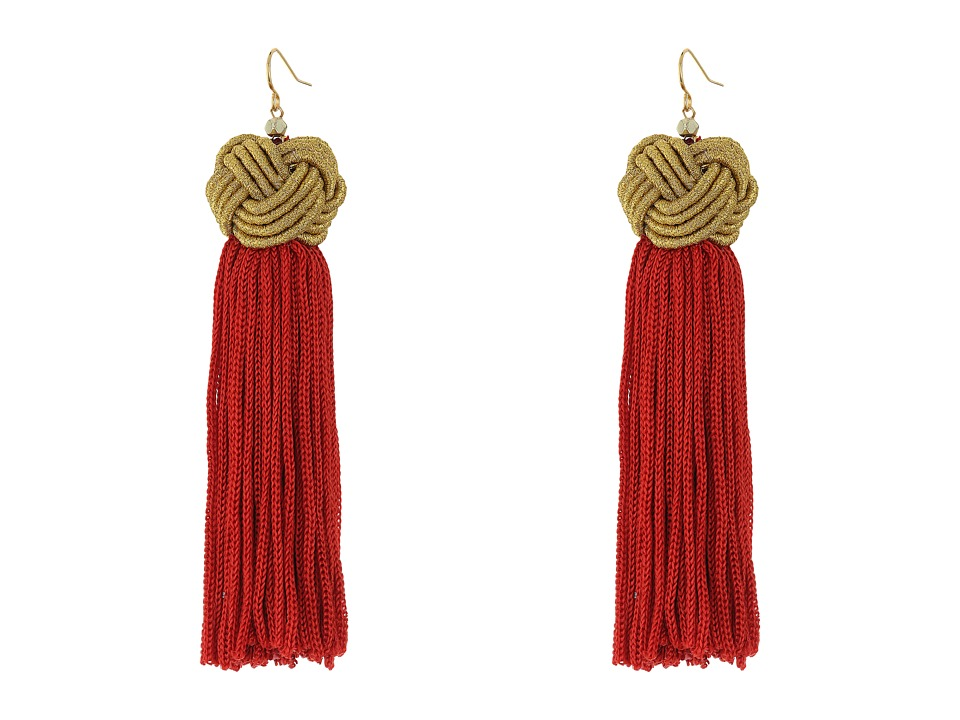 Vanessa Mooney Astrid Knotted Tassel Earrings Red/Gold Earring
