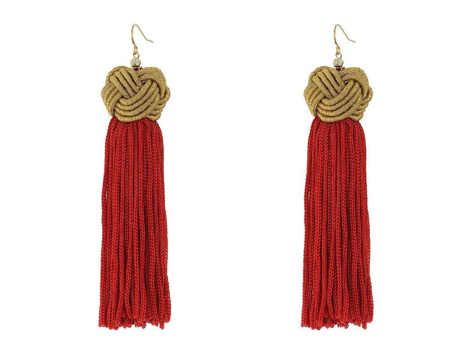 Vanessa Mooney Astrid Knotted Tassel Earrings Red/Gold Earring