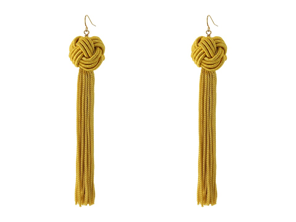 Vanessa Mooney Astrid Knotted Tassel Earrings Gold Earring