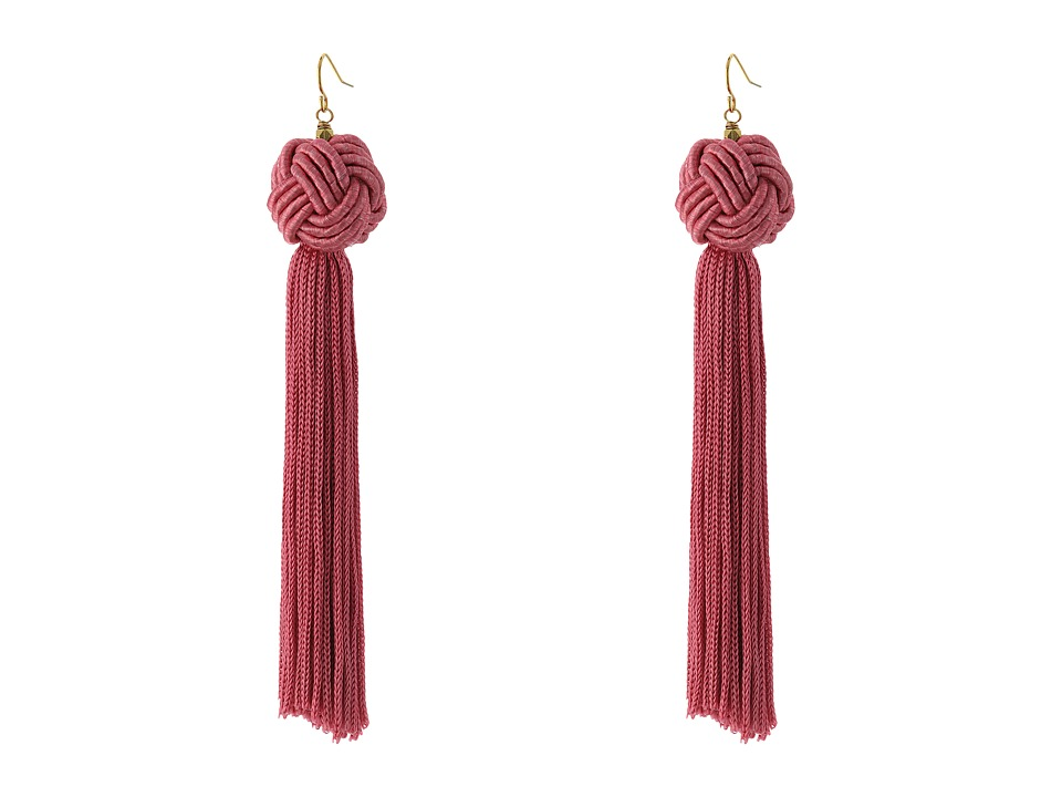 Vanessa Mooney Astrid Knotted Tassel Earrings Pink Earring