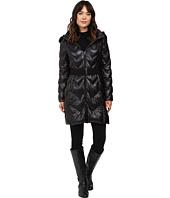 LAUREN Ralph Lauren - Chevron Quilted Faux Fur Trim Hood