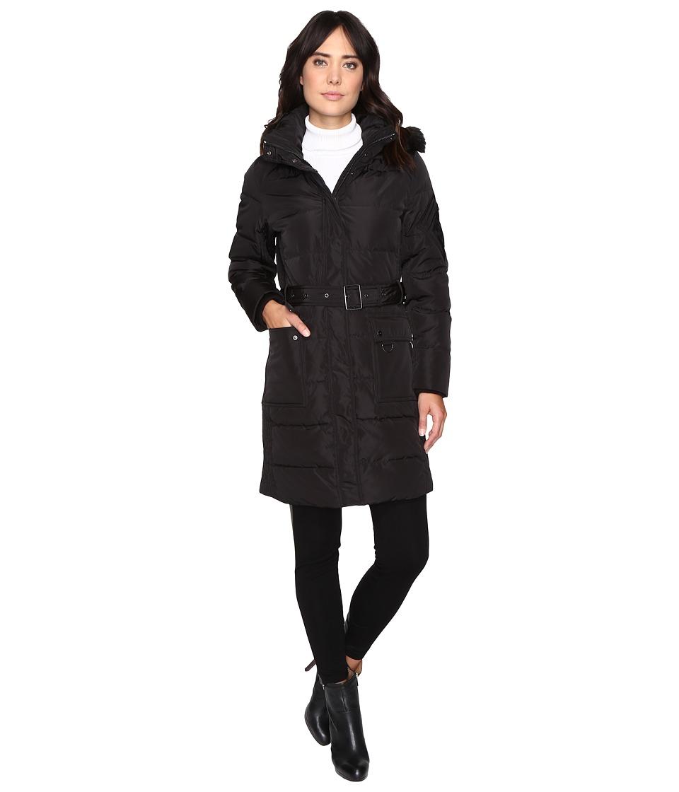 Ralph Lauren Belted Down w/ Faux Fur Hood (Black) Women's...