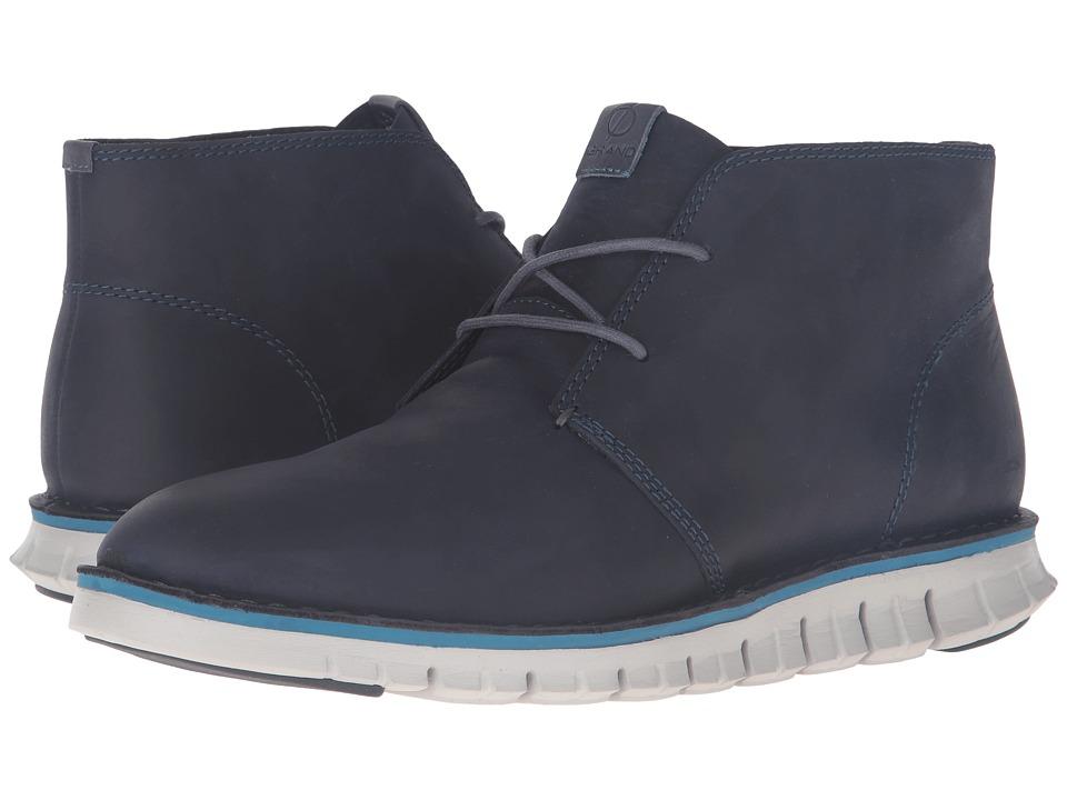 Cole Haan - Zerogrand Stitchout Chukka (Marine Blue Leather/Vapor Grey) Men