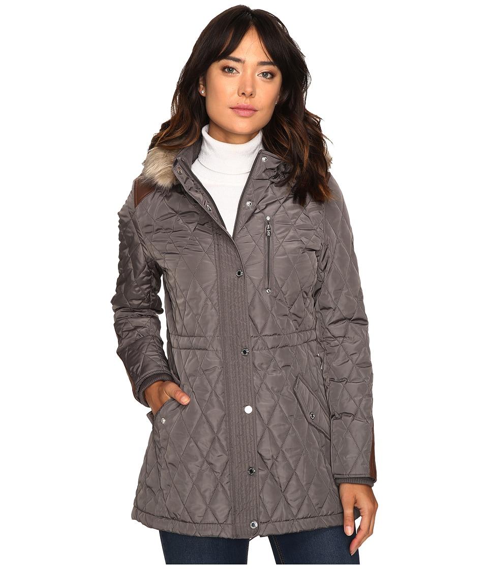 Ralph Lauren Faux Fur Trim Anorak (Flannel) Women's Coat