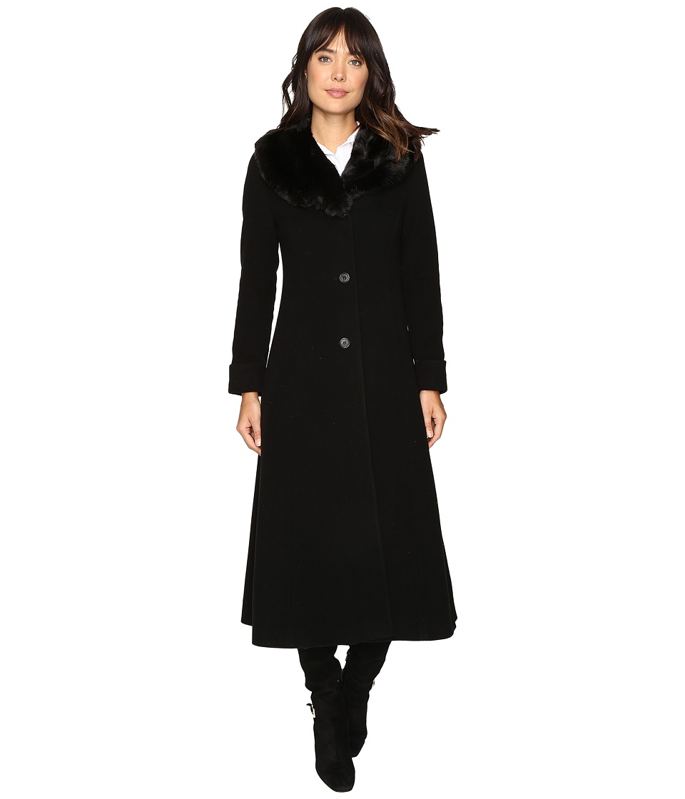 Ralph Lauren Faux Fur Fit and Flare Maxi (Black) Women's ...