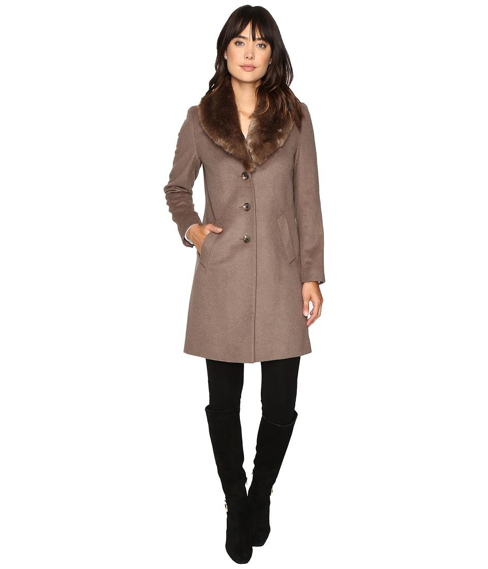 Ralph Lauren Shawl Collar Faux Fur Reefer (Mink) Women's ...