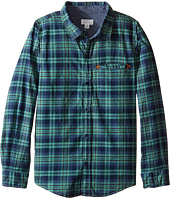Pumpkin Patch Kids - Green Checked Long Sleeve Shirt (Little Kids/Big Kids)