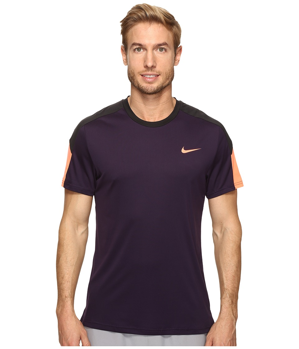 Nike Court Tennis Shirt (Purple Dynasty/Black/Bright Mango) Men