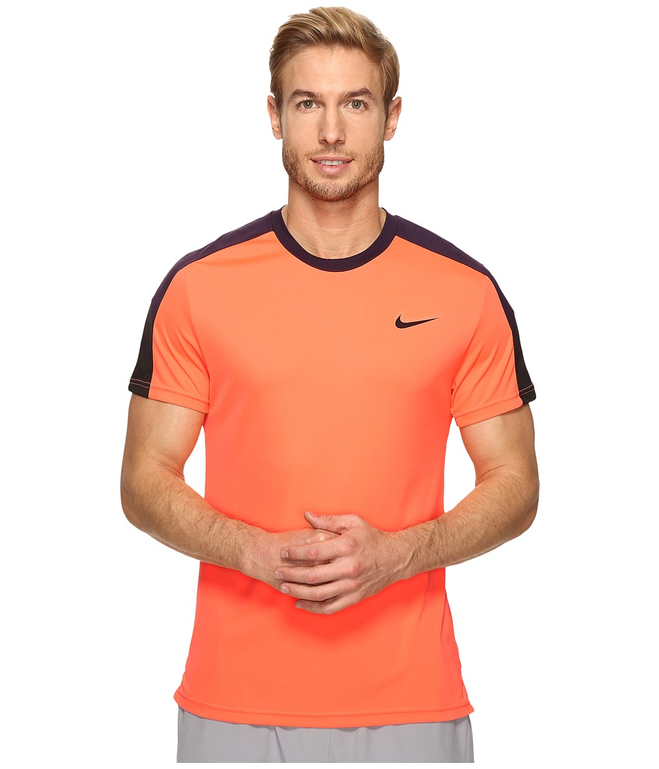 Nike Court Tennis Shirt (Bright Mango/Purple Dynasty/Black/Black) Men