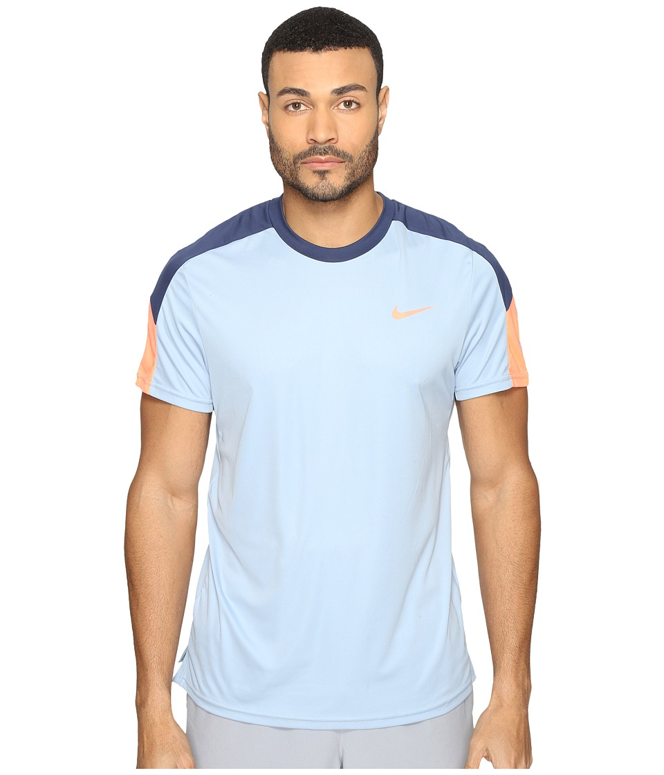Nike Court Tennis Shirt (Blue Grey/Midnight Navy/Bright Mango) Men