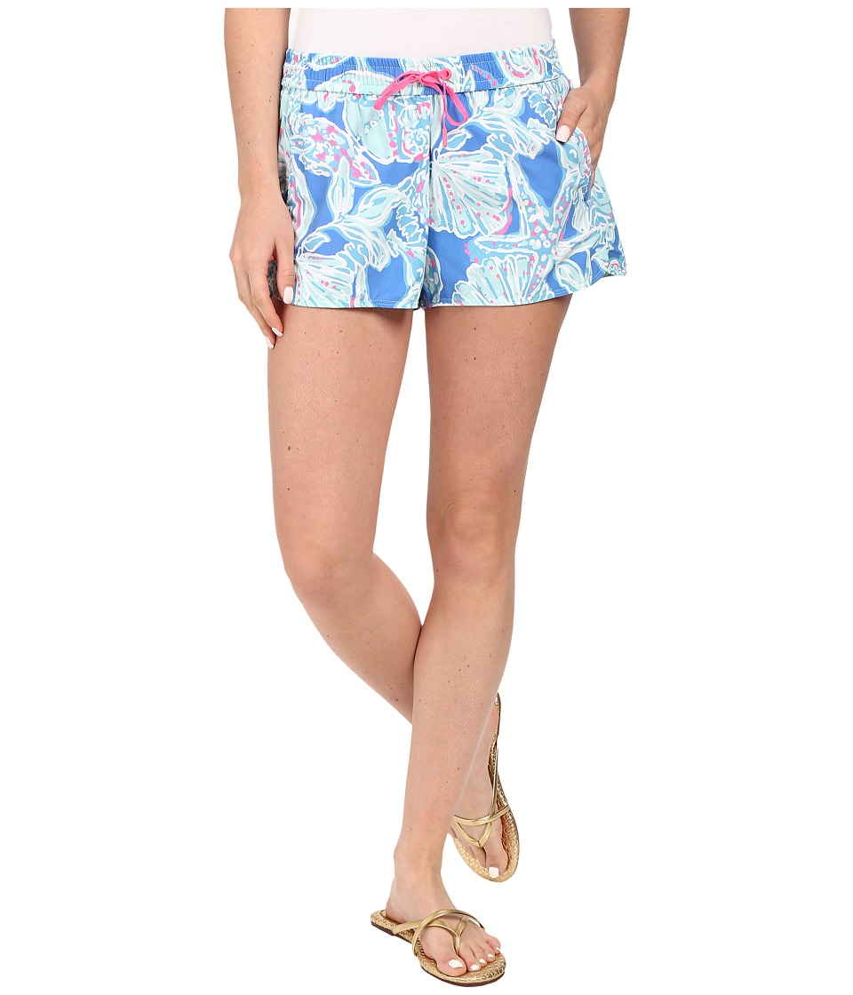 Lilly Pulitzer Run Around Shorts Bay Blue Into The Deep Womens Shorts