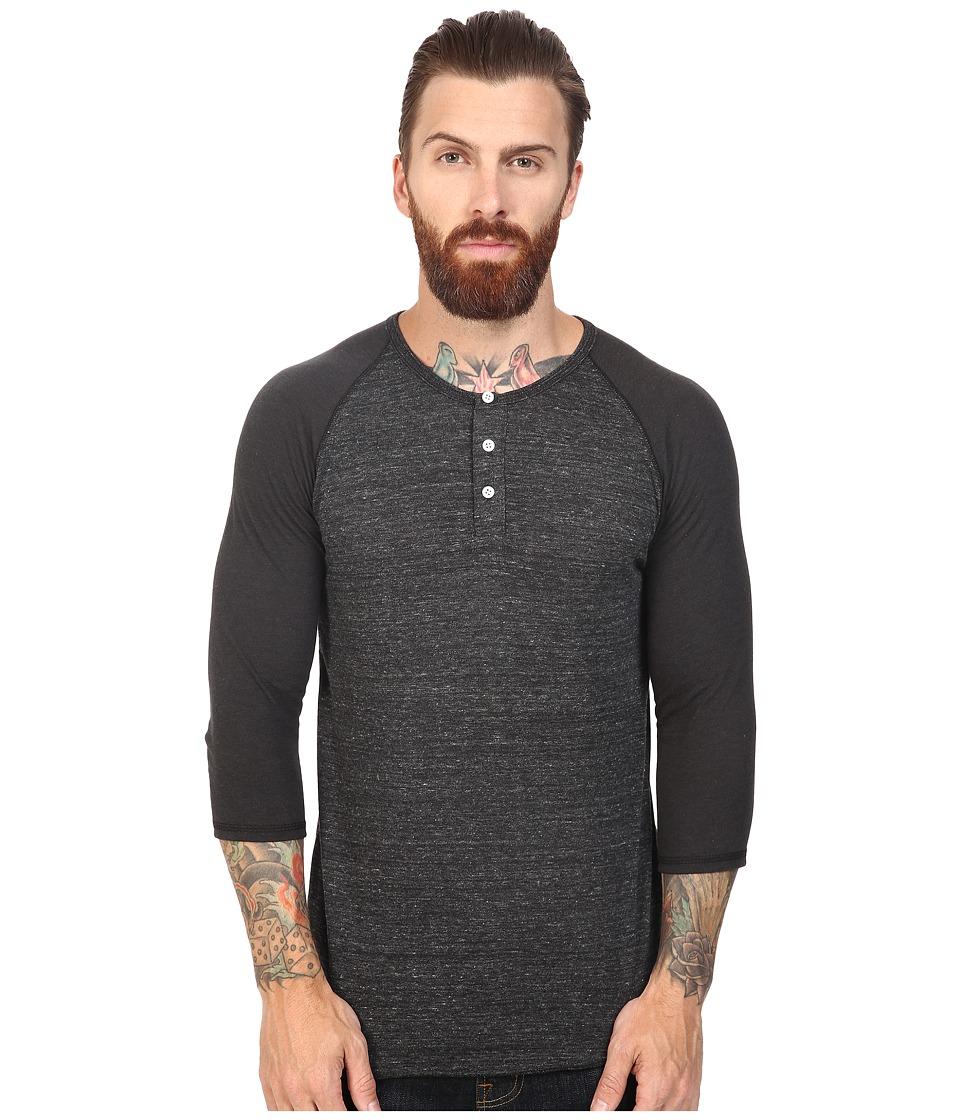 Image of Alternative - 3/4 Raglan Henley (Eco Black/Eco True Black) Men's Long Sleeve Pullover