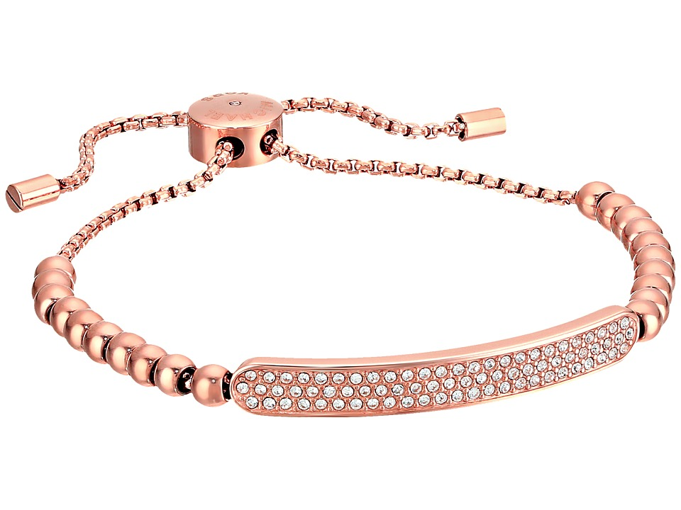 Michael Kors Logo Plaque Slider Bracelet Rose Gold/Clear Bracelet