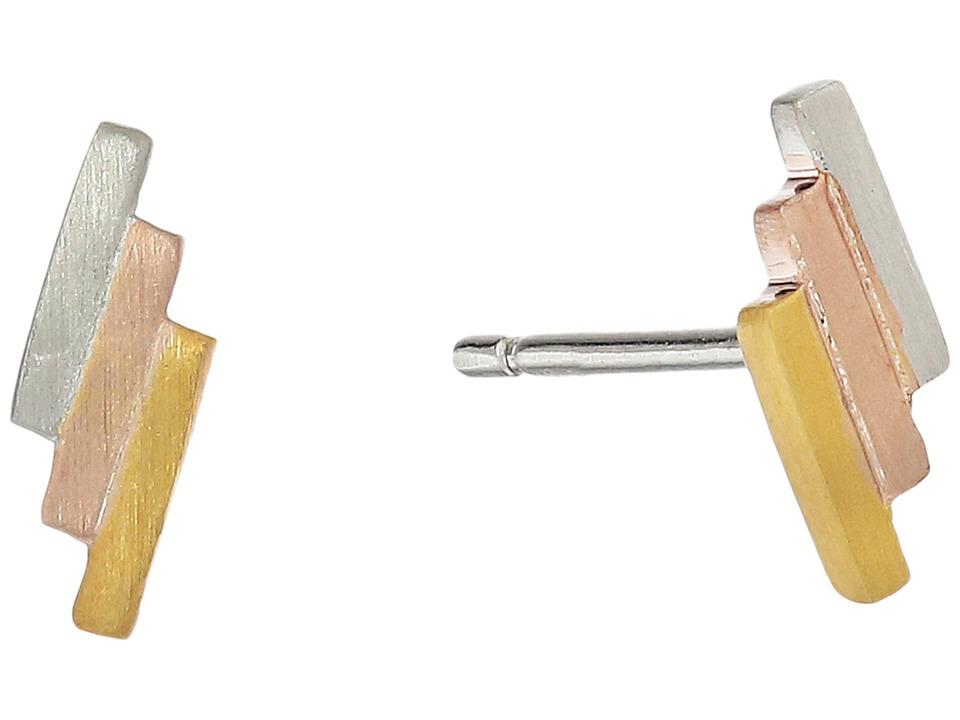 gorjana Malia Stud Earrings Tri Tone Earring