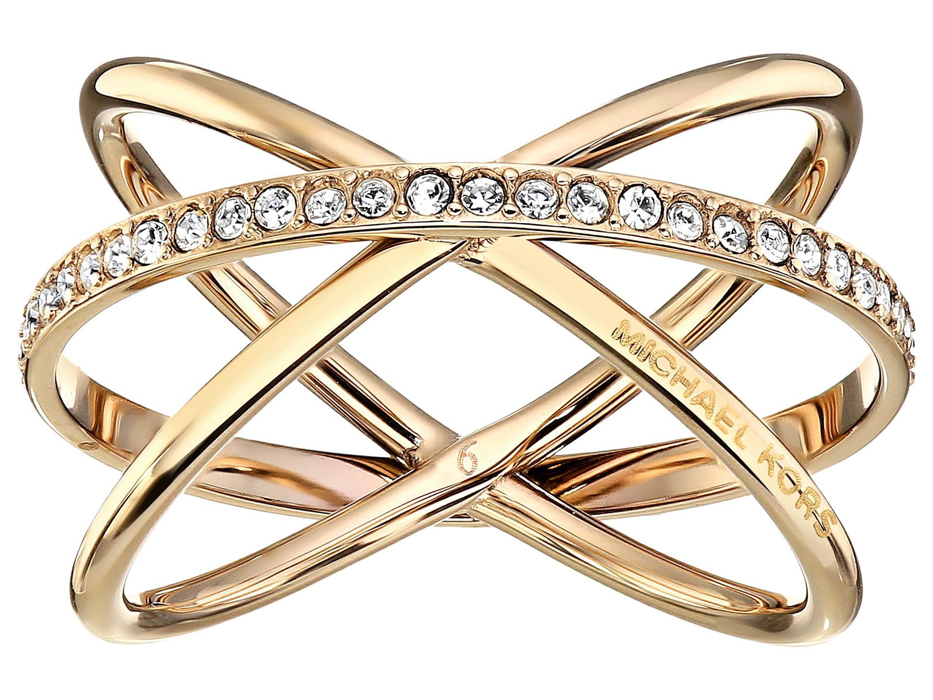 michael kors brilliance criss cross ring gold clear 1. Black Bedroom Furniture Sets. Home Design Ideas