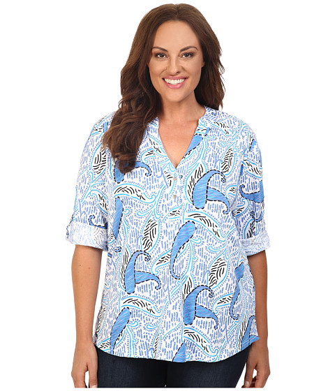 Fresh Produce - Plus Size Paisley Dockside Henley (White) Women's Clothing