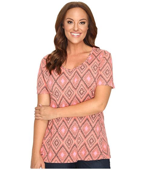 Fresh Produce - Plus Size Diamonds Luna Top (Melon Sherbet Pink) Women's Clothing