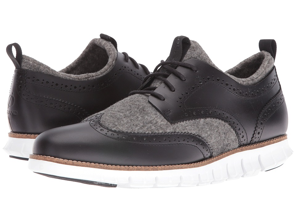 Cole Haan Zerogrand Short Wing Bootie (Black Leather/Neoprene/Optic White) Men