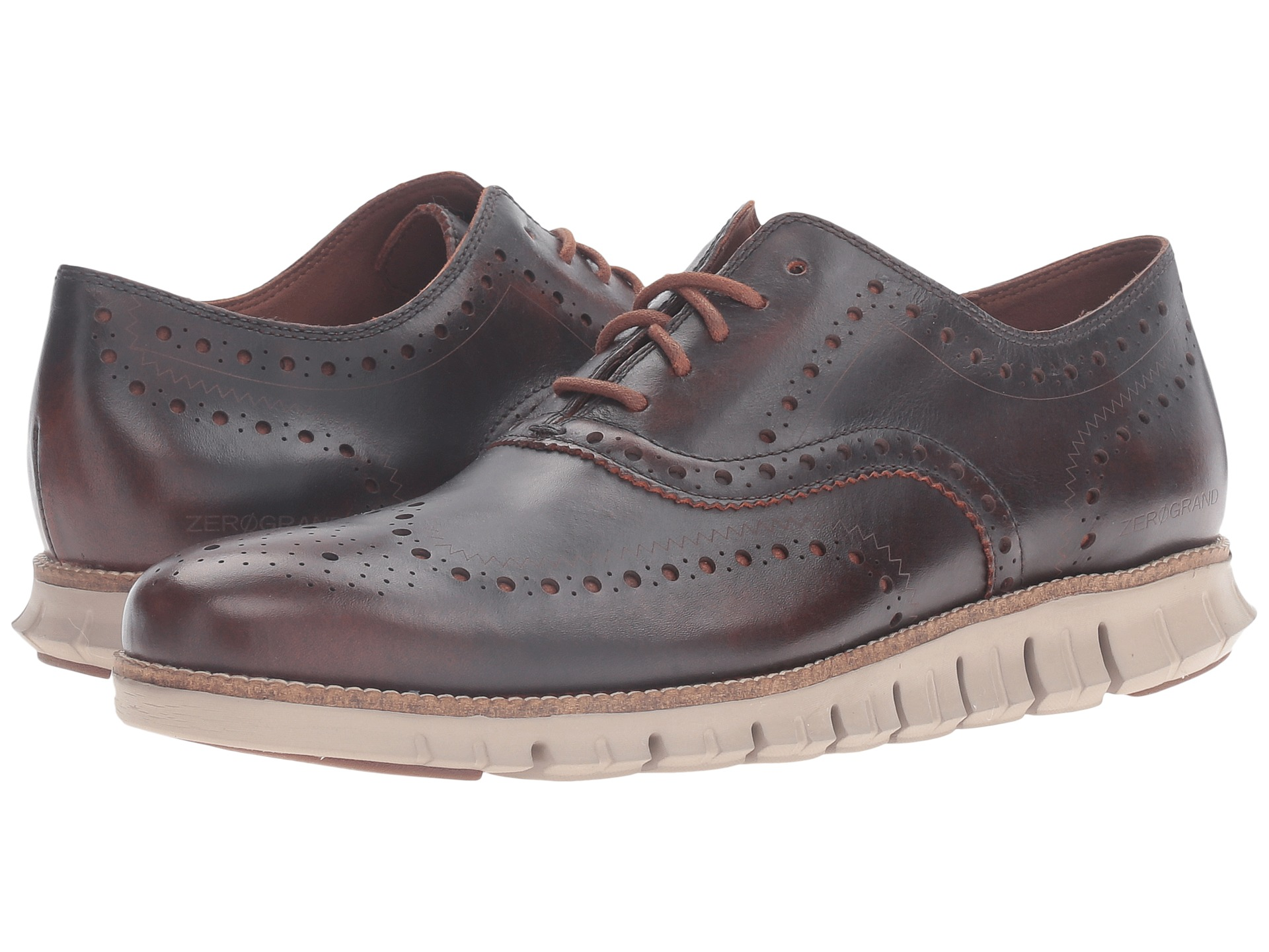 Cole Haan Zerogrand Wing Oxford Harvest Brown Leather Cobblestone