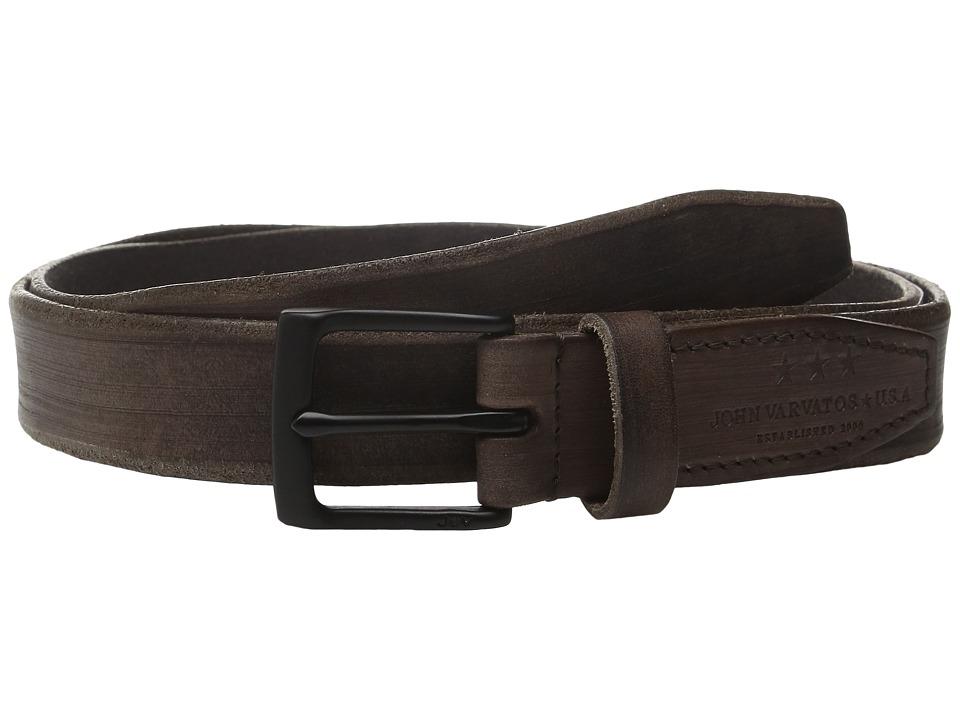 John Varvatos - 30mm Distressed Veg Belt w/ Harness Buckle (Brown) Men